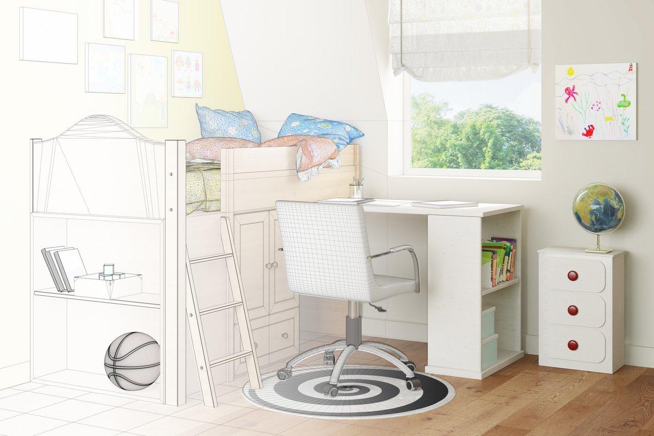 Das Kinderzimmer vom Schreiner – Bett, Schrank, Schreibtisch ...